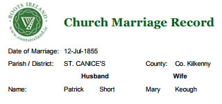 Church Marriage Record for: Patrick Short and Mary Keough