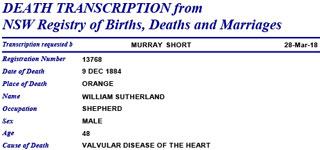 DEATH TRANSCRIPTION from NSW Registry of Births, Deaths and