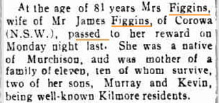 Death Notice - Mary FIGGINS (nee WILSON)
