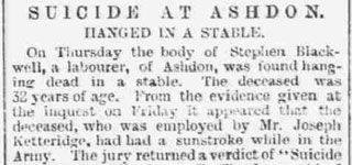 Suicide at Ashdon - Hanged in a stable