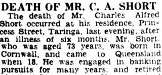 DEATH of Mr. C. A. SHORT