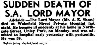 SUDDEN DEATH OF S.A. LORD MAYOR