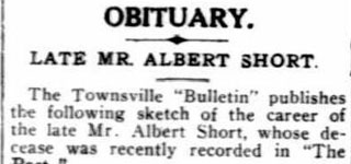 OBITUARY - Late Mr Albert SHORT